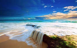 Sea, sky, clouds, beach water flow waterfall, beautiful scenery