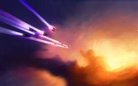 Nave espacial voando brilho
