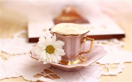 Preview wallpaper Still life theme, a cup of coffee with flower