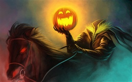 Art painting Halloween horseman pumpkin light, horse burning eyes