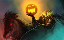 Peinture d'art Halloween pumpkin lumière cavalier, yeux ardents chevaux