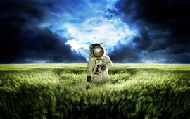Astronaut vast green grasslands