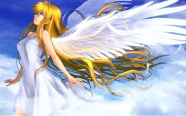 Beautiful anime girl angel wings white feathers