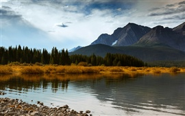 Canada Alberta, autumn mountains forest lake, blue sky clouds Wallpapers Pictures Photos Images