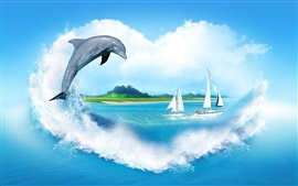 Preview wallpaper Creative Image, heart-shaped clouds, sea, sailing, dolphin