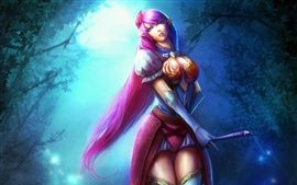 Purple hair elf girl in the forest at night