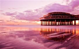 Por do sol roxo cenário, mar, praia edifício céu