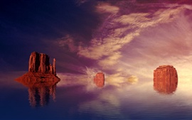 Preview wallpaper Unusual scenery, red rock mountains in the water