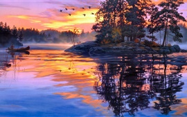 Preview wallpaper Art painting, twilight scenery, lake, forest, birds, sunset