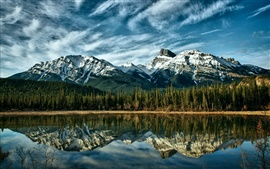 Preview wallpaper Canada Alberta nature landscape, lake, snow-capped mountains, reflection, sky clouds