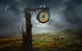 Preview wallpaper Creative design, tree clock