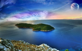 Preview wallpaper Fantasy landscape, island, sea, heart-shaped clouds, planet