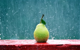 Preview wallpaper Green pear in the rain