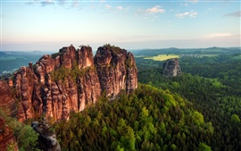 Preview wallpaper Spectacular scenery, rock mountains, cliffs, verdant trees