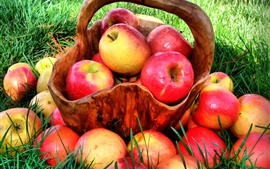 Preview wallpaper Summer grass, red apple harvest, delicious fruit