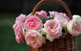 Preview wallpaper A basket of pink roses close-up