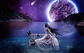 Aesthetic creative landscape, lake water benches girl, sky planet