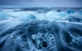 Preview wallpaper Arctic landscape, icy sea, into blocks of sea ice, cold blue