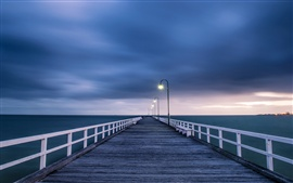 Preview wallpaper Australian landscape, wooden bridge, night lights, blue sea and sky