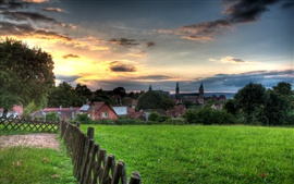 Bamberg beautiful scenery, sunset, houses, grass, clouds