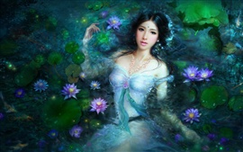 Preview wallpaper Beautiful Asian girl in lotus pool