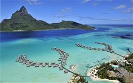 Preview wallpaper Bora Bora Island, sea, beach, houses