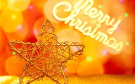 Preview wallpaper Christmas decoration, five-pointed star, golden style