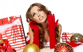 Preview wallpaper Christmas girl, Christmas balls, gift bag