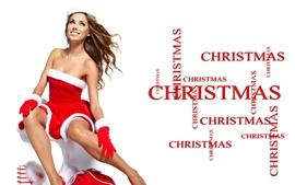 미리보기 배경 화면 크리스마스 소녀 미소, 축제 드레스