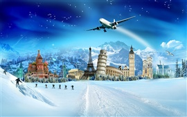 Creative design pictures, world attractions, winter snow