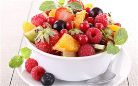 Preview wallpaper Delicious fruit salad, strawberry, raspberry, blackberry