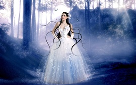 Fantasy girl, white dress girl in the woods Wallpapers Pictures Photos Images