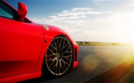 Ferrari F-430, red color, sky, clouds, sun, glare