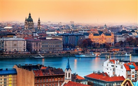 Preview wallpaper Hungary Budapest city, the river, buildings, houses, sunset