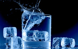 Icy blue, glass cup, water, ice cubes, splash