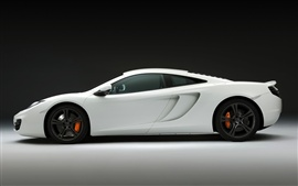 McLaren MP4-12C white supercar, side close-up