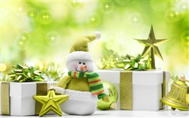 Preview wallpaper Snowman toy, green style, Christmas and New Year gifts