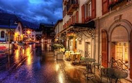 Suiza Zermatt calles de noche y las luces
