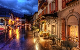 Suíça Zermatt ruas noturnas e luzes