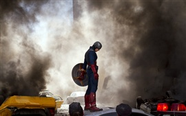 Preview wallpaper The Avengers, Captain America, The fierce fighting of the smoke