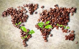 O café feijão arte criativa, mapa do mundo