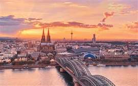 Urban landscape, Cologne, Germany, sunset sky, the Rhine, bridge, buildings