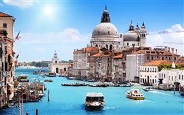 Venice in the summer, canal, houses, boats