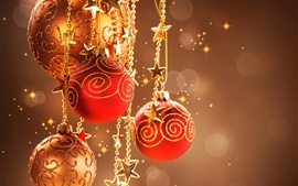 Warm Christmas decor, red decorative balls