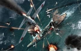 Aviões de guerra e navios de guerra de combate feroz