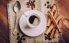Preview wallpaper Aromatic coffee, cup, saucers, coffee beans, spoon