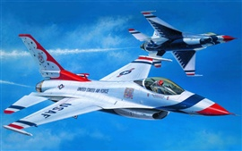 Art painting, air fighter aerobatics