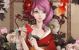 Beautiful kimono Japanese anime girl, pink hair, green eyes