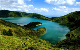 Preview wallpaper Beautiful landscape, hills, slopes, pond, lake, green, blue sky, clouds