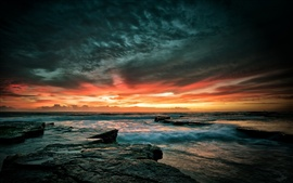 Preview wallpaper Beautiful sunset sea sky, stones, waves, dusk